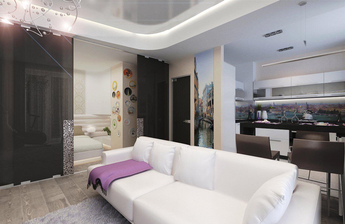 Дизайн г образной комнаты