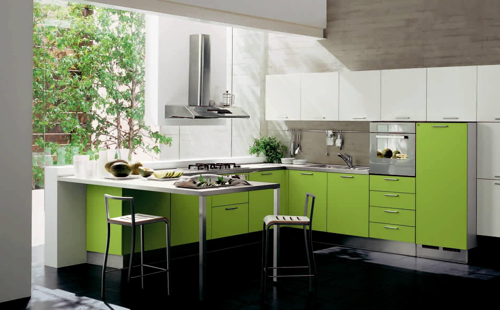 Дизайн кухни салатовый цвет стен