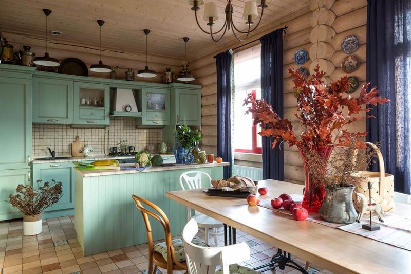 Уютная кухня своими руками в частном доме 182
