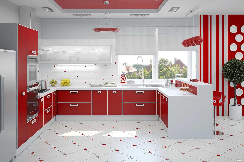 Кухня бело красная дизайн