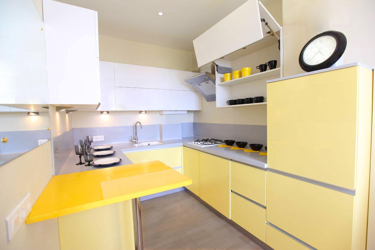 Фото дизайн кухни в желтом цвете