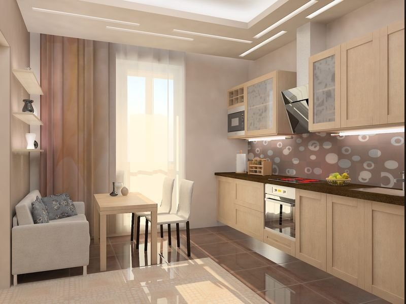 Кухня 12 кв м дизайн фото с диваном и телевизором