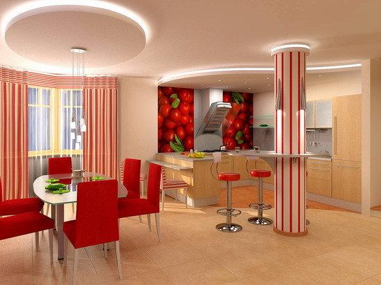 зонирование кухни с помощью потолка из гипсокартона