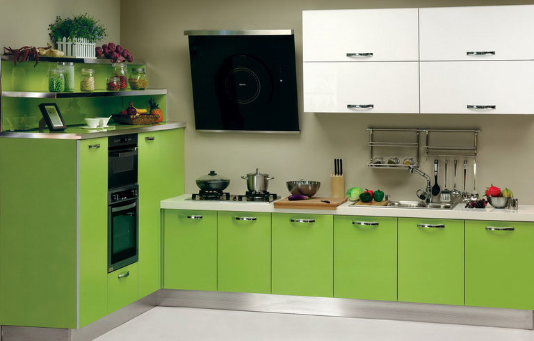 Салатовая кухня в стиле минимализм