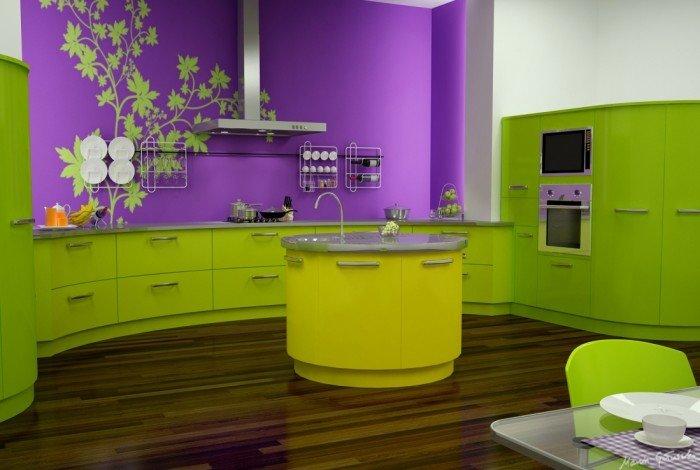 Салатовая кухня с контрастной стеной