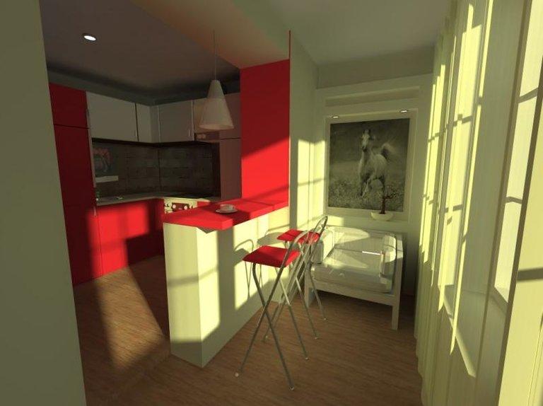 стильная кухня совмещенная с балконом