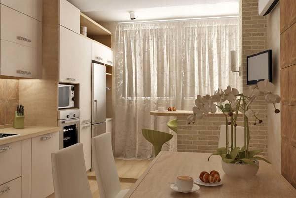 Фото дизайн кухни с лоджией