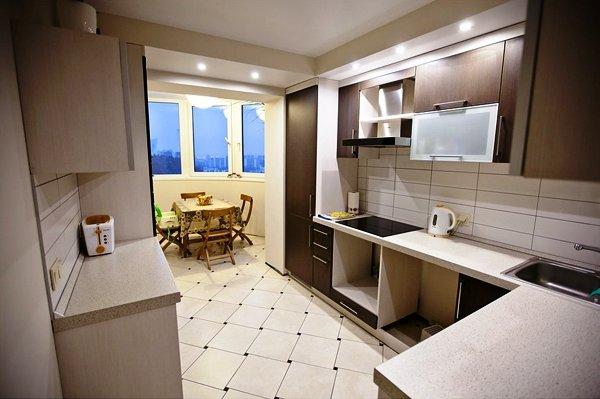 Дизайн интерьера однокомнатной квартиры, проект кухни 64