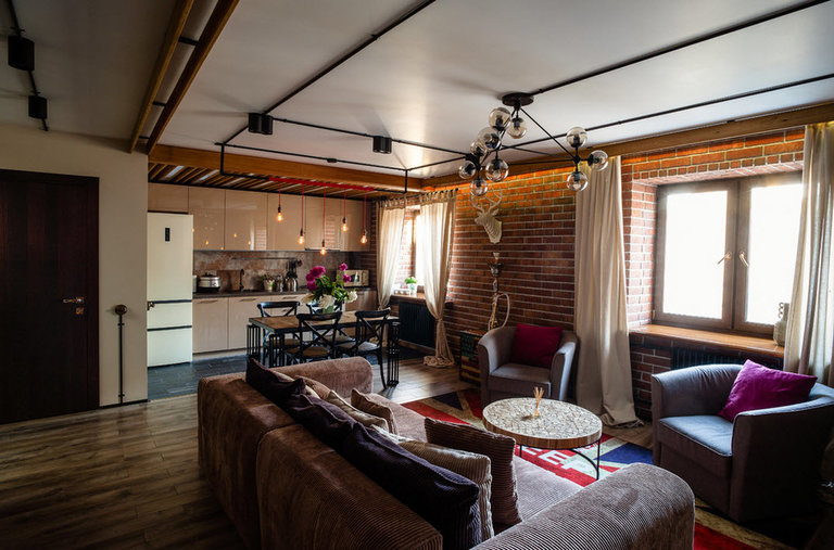 кухня гостиная в стиле лофт 60 удачных интерьеров