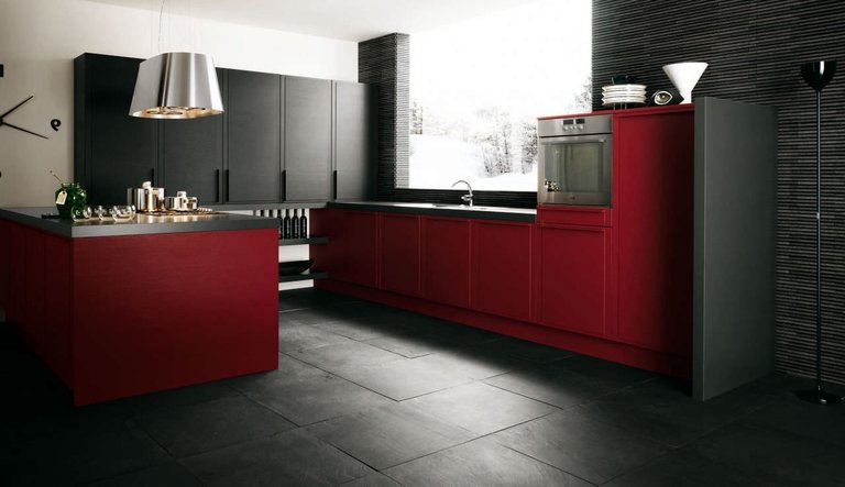 Черно-красная кухня: 50 идей для дизайна, фото гарнитуров и интерьеров