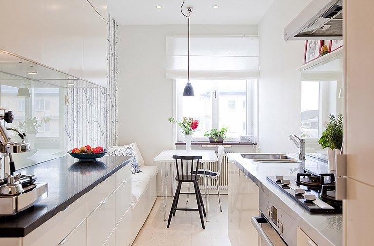 Интерьер узкой кухни идеи 29