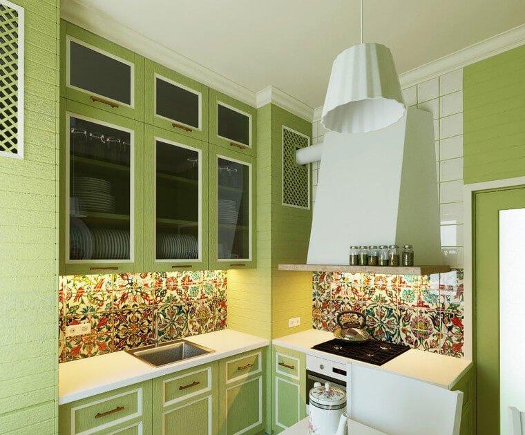 Зеленая кухня в интерьере