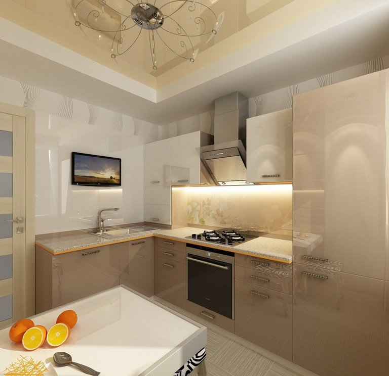 Кухня в цвете капучино интерьер