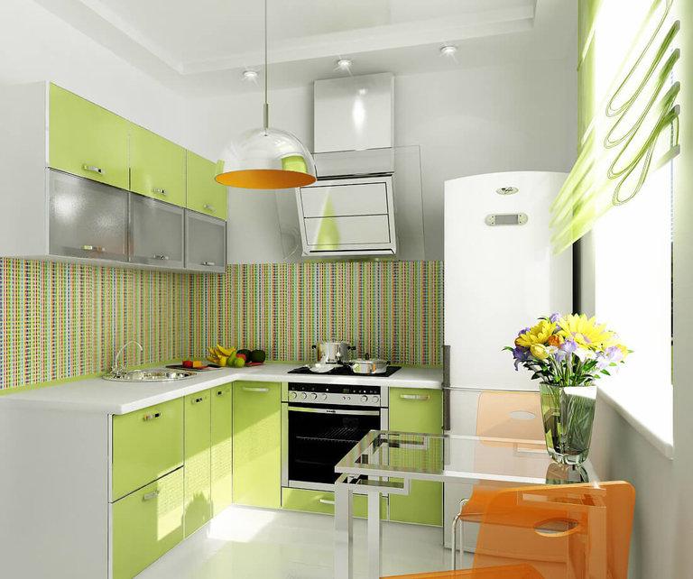 Кухни дизайн фисташковый цвет