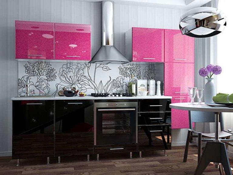 кухонный гарнитур цвета фуксии
