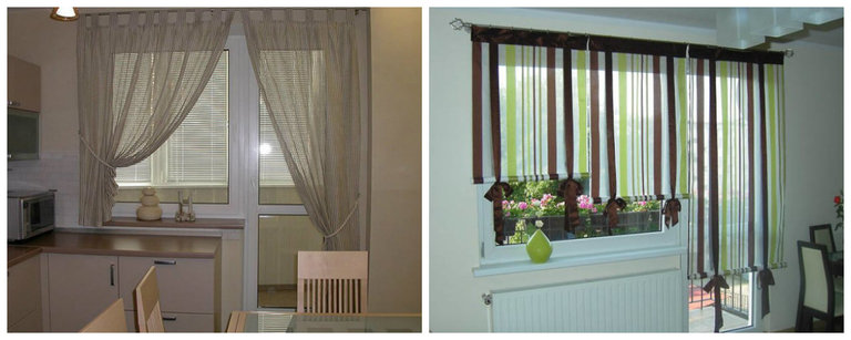 фото шторы на кухню с балконной дверью