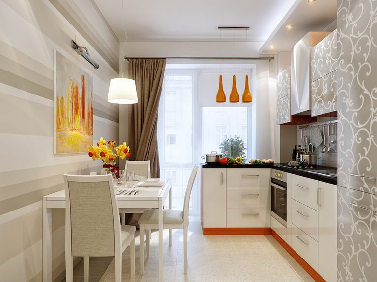 Gordijnen op de keuken met balkon