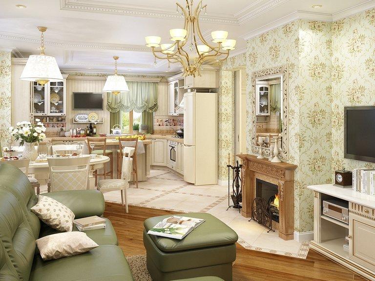 кухня гостиная с камином в частном доме 50 лучших фото дизайна