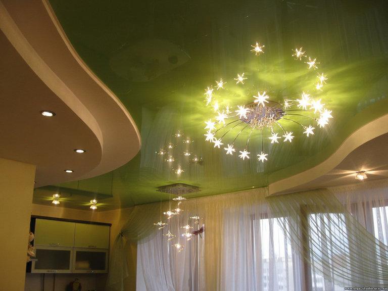 комбинированный потолок на кухне: гипсокартон+натяжной