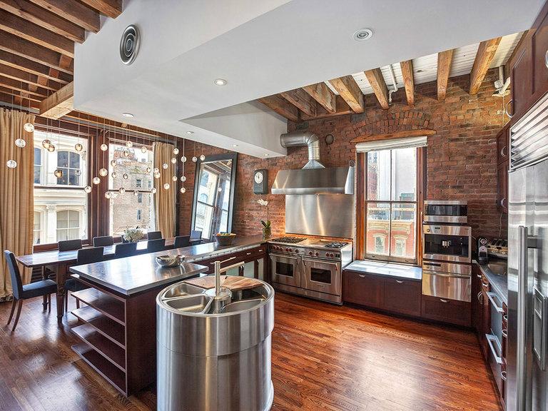 потолок из гипсокартона на кухне в стиле loft