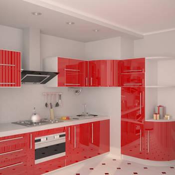красная кухня с глянцевыми фасадами