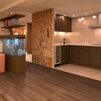 комбинированный пол на кухне, плитка+ламинат