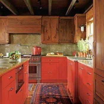 Дизайн кухни темно красной