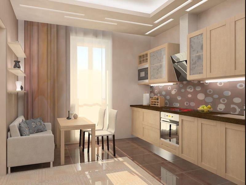Фото кухни 12 кв.м с выходом на балкон