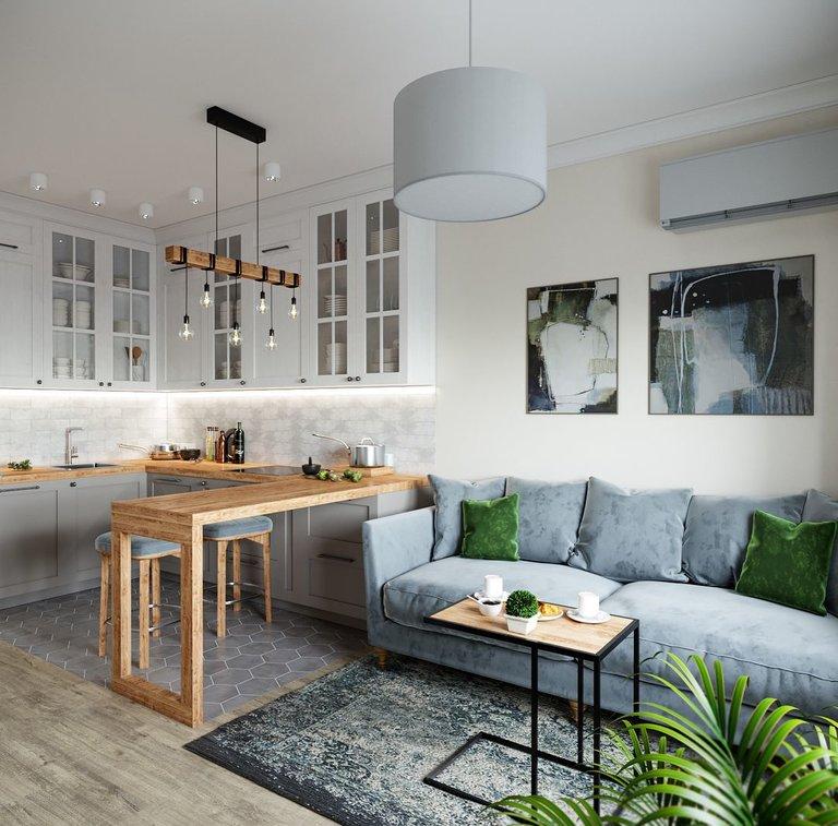 Кухня-гостиная в скандинавском стил