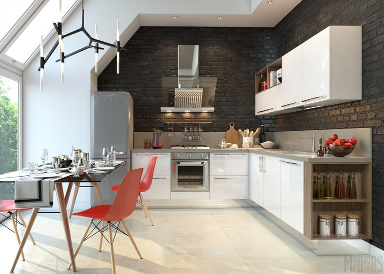 Кухня в стиле лофт на мансарде немецкого дома