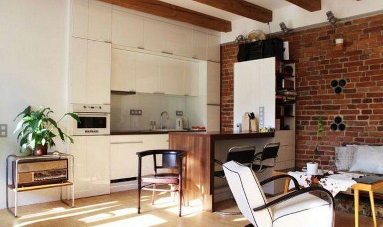 Фото кухни-гостиной в стиле лофт