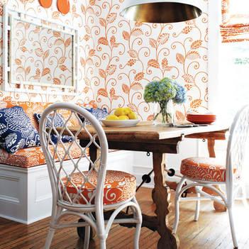 Оранжевая кухня: какие обои на стенах подойдут к гарнитуру | 351x351